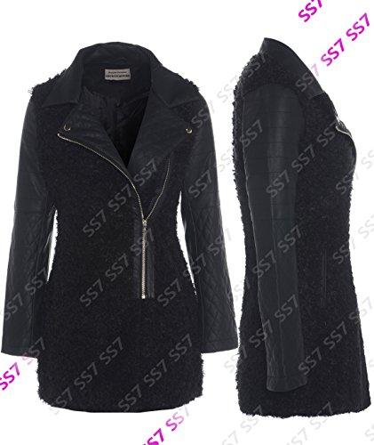 Cuir Femmes Ss7 En Manteau Style Noir Pour Fausse Et Simili Perfecto Fourrure YqPpCw