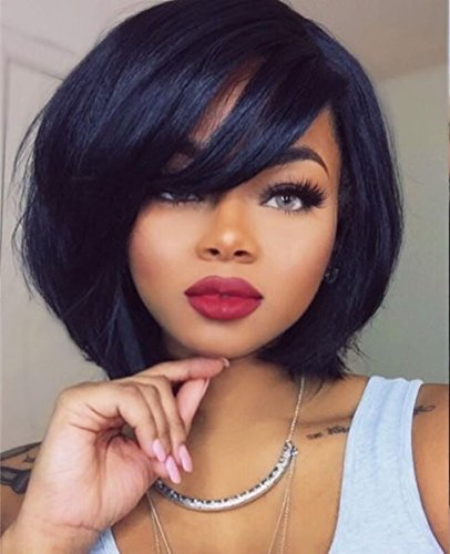 Premier Crown Hair 8A Virgin Brazilian Human Hair 4 Inch Part Lace Front Wig 130% Density Natural Color Glueless Short Bob Wig For Women (lace front wig 12