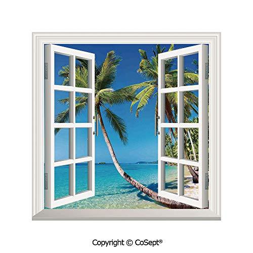 SCOXIXI Window Wall Sticker,Kood Island Thailand Journey Destination in Asia,3D Window View Decal Home Decor Deco Art (25.86x22.63 inch)