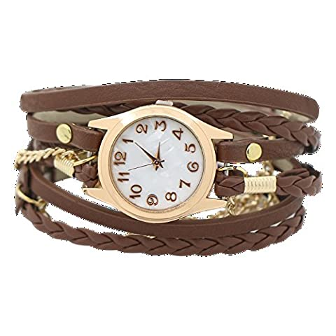 Charming Vintage Weave Wrap Leather Chain Bracelet Watch for Womens Ladies (Brown) (Brown Leather Geneva Watch)