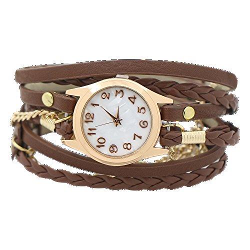Women Weave Wrap Leather Bracelet Wrist Watch Brown - 2