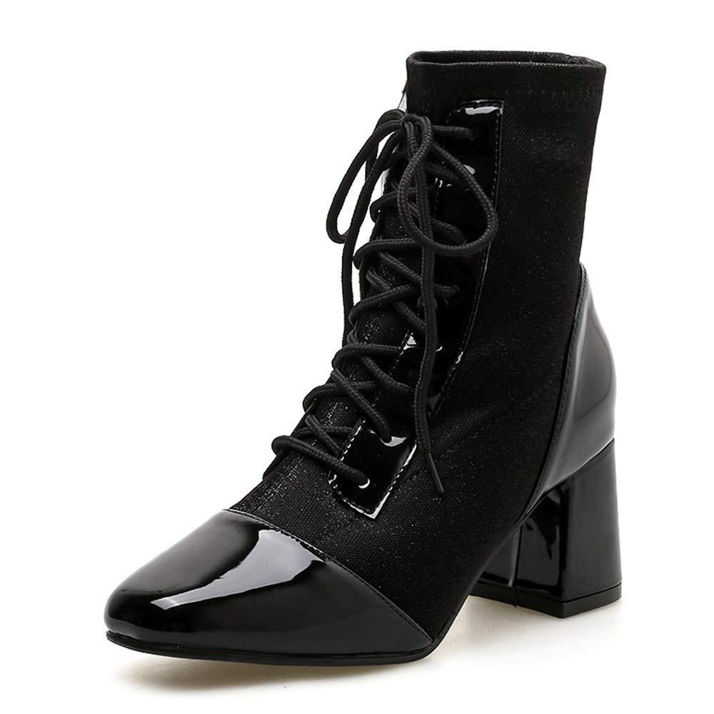 LIURUIJIA Women Punk Metal Patent PU Leather Chunky Heel Ankle Fluff Lining Zip Boots black-35