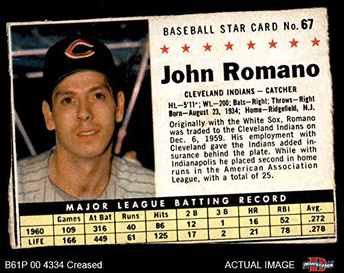 1961 Post Cereal # 67 BOX John Romano Cleveland Indians (Baseball Card) (Handcut from Cereal Box) Dean's Cards 2 - GOOD Indians