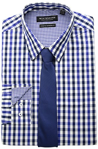 Nick Graham Men's Modern Fitted Multi Gingham Stretch Shirt with Solid tie, Royal, XL-XL36/37