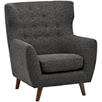 Rivet Hawthorne Mid-Century Tufted Modern Accent Chair, Caviar