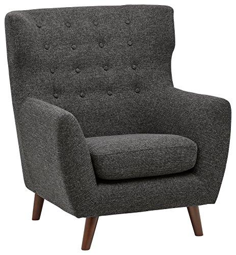 Rivet Hawthorne Mid-Century Tufted Modern Accent Chair, Caviar