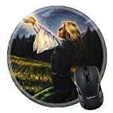 MSD Mousepad Round Mouse Pad/Mat 35819539 Stain Resistance Kit Kitchen Table Top Desk C beautiful painting oil on canvas of a mystical young woman in green emerald medieval