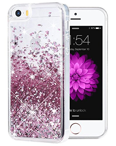 iPhone 5 5S SE Case, Caka iPhone SE Glitter Case Luxury Fashion Bling Flowing Liquid Floating Sparkle Glitter Soft TPU Case for iPhone 5 5S SE (Rose Gold) ()