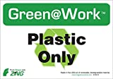 "ZING 1031S Eco Environmental Awareness Sign, Header""Green at Work"",""Plastic Only"" with Recycle Symbol, 10"" Width x7"" Length, Self Adhesive Eco-Poly, Black/Green/White (Pack of 5)"