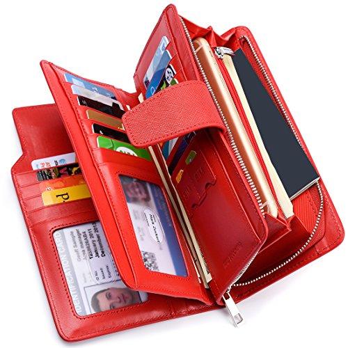 Women Leather Long Clutch Wallet(Red) - 5