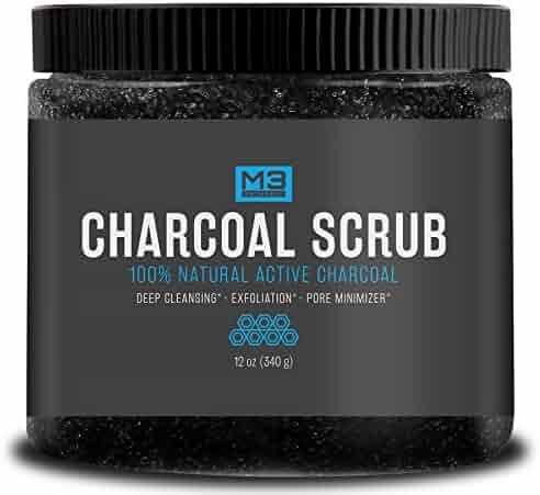 Premium Activated Charcoal Scrub 12 OZ - All Natural Pore Minimizer - Reduces Wrinkles, Blackheads & Acne Scars, Anti Cellulite Treatment - Body & Face Cleanser - Face Scrub & Body Scrub
