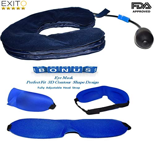 2018 New Cervical Neck Traction Collar for Men and Women,FDA Registered,Effective Neck Pain Remedy at Home, Extra Bonus Eye Mask -Brace for Home use by EXITO (Image #7)