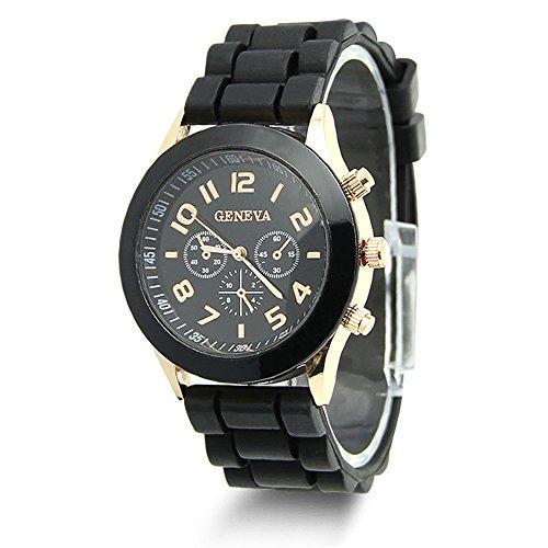 Jelly Sport Wrist Watch (HeroNeo Classic Womens Girls Geneva Silicone Jelly Gel Quartz Analog Sports Wrist Watch (Black))