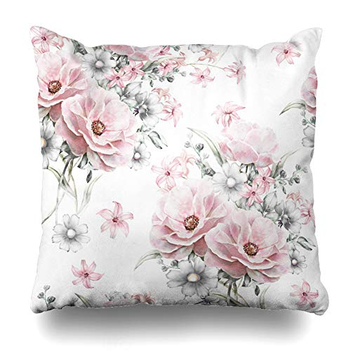 Ahawoso Throw Pillow Cover Tile Gray Abstract Pink Flowers Leaves On Watercolor Pattern Floral Rose in Pastel Col Vintage Design Home Decor Pillowcase Square Size 16