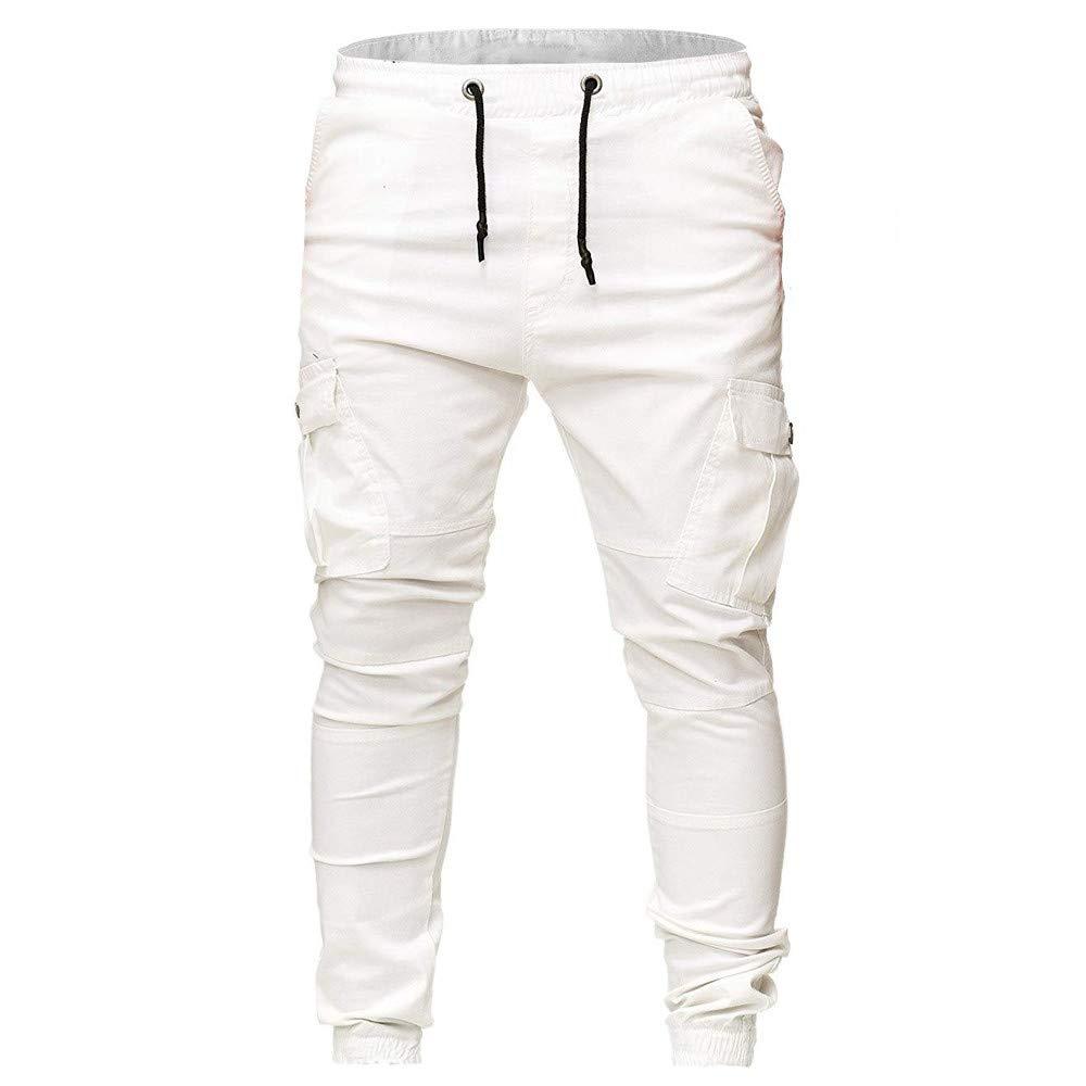 Men`s Alimao Fashion Sweatpants Slacks Casual Elastic Joggings Sport Solid Baggy Pockets Trousers