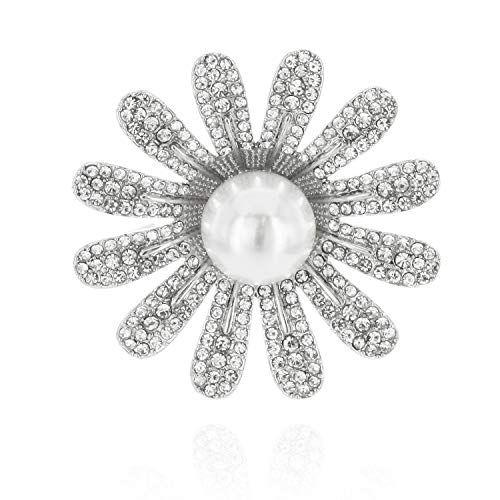 - SP Sophia Collection Daisy Flower Brooch Embellished with Faux Pearl in Silver and White
