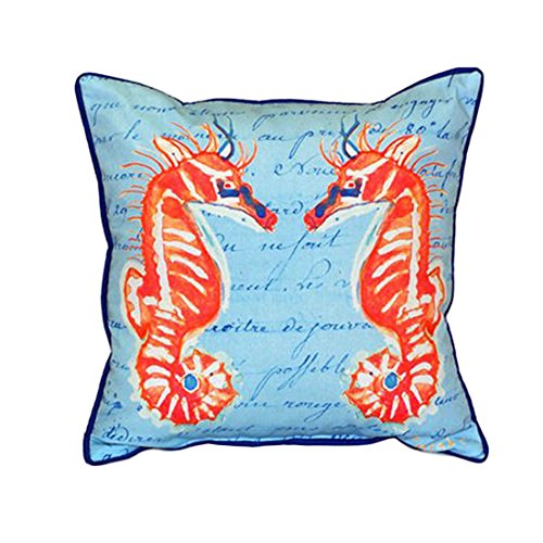 Betsy Drake Coral Sea Horse Extra Large 22 X 22 Indoor / Outdoor Blue Pillow price