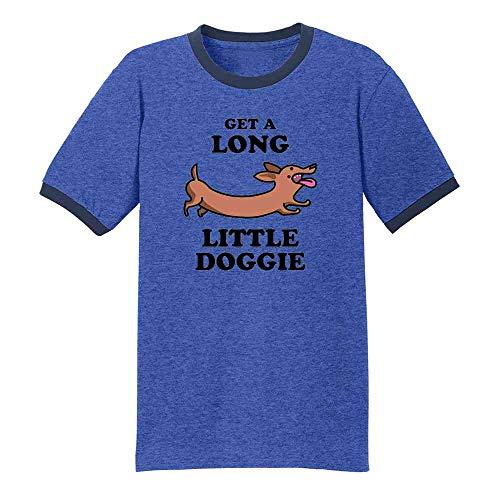 Pop Threads Get A Long Little Doggie Dachshund Funny Royal/Navy 3XL Ringer T-Shirt