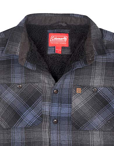 Coleman Flannel Shirt Jackets for Men with Sherpa Interior (X-Large, Charcoal Navy)