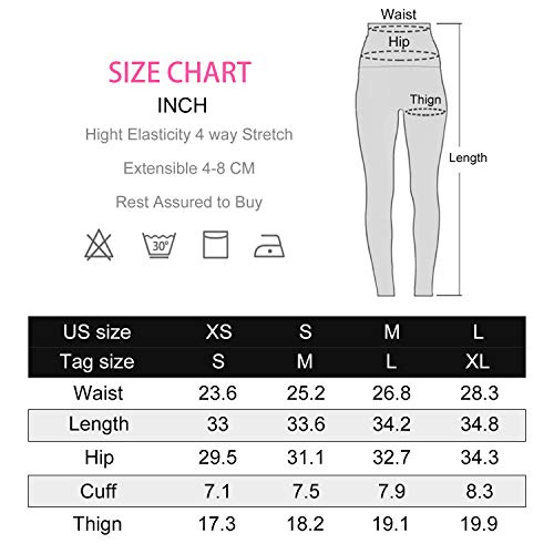 Witkey Women Yoga Pants Printed Over The Heel Yoga Leggings High Waist Power Flex Leggings for Fitness Running