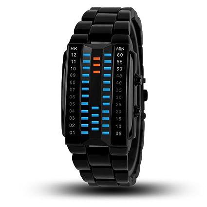 oumosi 3d especular binario LED electrónico reloj resistente al agua relojes de pulsera para amante,