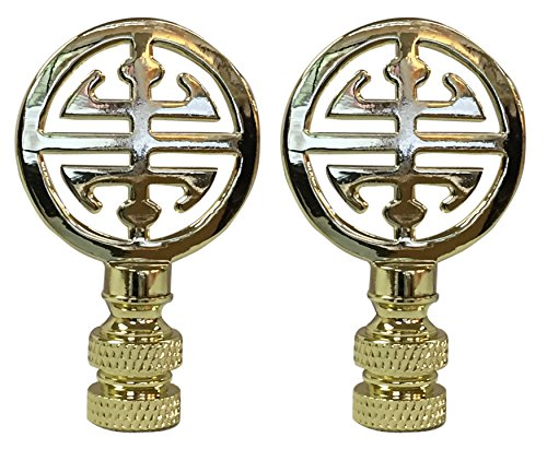 (Royal Designs Oriental Happiness Symbol Lamp Finial for Lamp Shade- Polished Brass Set of 2)