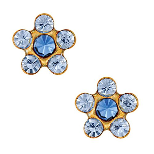 Studex Tiny Tips Light Sapphire and Sapphire Crystal 5mm Daisy Gold Plated Childrens Hypo-allergenic Stud Earrings