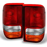 Ford Ranger Pickup Truck Red Clear Rear Tail Light Brake Lamps Replacement Pair Left + Right