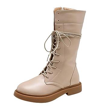 LuckyGirls Botas de Nieve de Caña Alta de Mujer Tacón Bajo Moda Zapatillas Casuales Calzado Zapatos con Cordones: Amazon.es: Deportes y aire libre