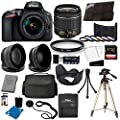 "Nikon D3500 DSLR Camera with 18-55mm Lens and 17PC Accessory Bundle - Includes SanDisk Ultra 32GB SDHC Memory Card + Digital Slave Flash + 3PC Filter Kit + 50"" Tripod + Professional Backpack + More"