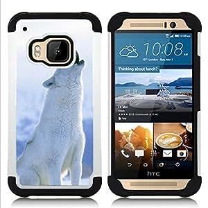 /Skull Market/ - Wolf Wolves For HTC ONE M9 - 3in1 h????brido prueba de choques de impacto resistente goma Combo pesada cubierta de la caja protec -