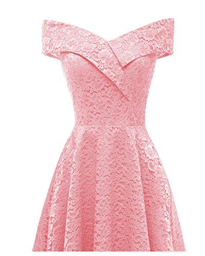 Boat Dress Floral Cocktail Lace Off Dresses Formal Aibwet Neck Pink Women's Vintage 1 Swing Shoulder 0qw7tHS