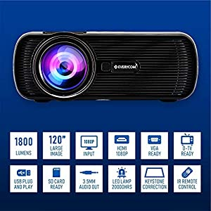 Best Everycom X7 LED Projector Full HD 1080P Supported, Compatible with Smartphone, TV Stick, USB , HDMI, VGA, AV, Home Theatre In India