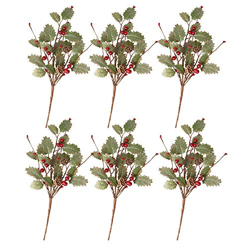 Skrantun 6 Packs Christmas Stems Decorations Glattered Floral Picks Christmas Gifts