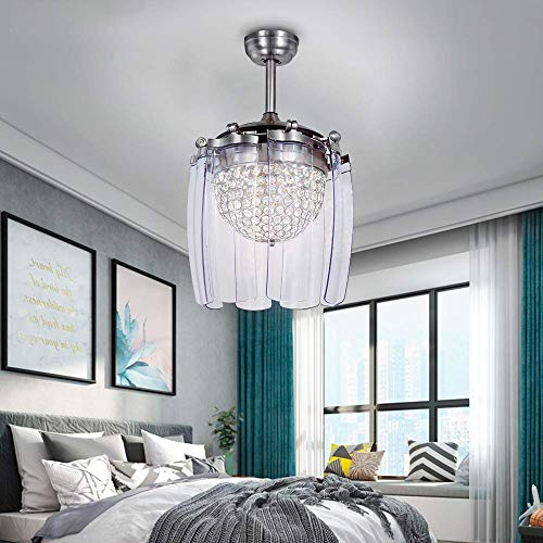 8-Blade Retractable Crystal Ceiling Fan Light with Remote Control Dimmable LED Fan Lamp Silent Strong Wind Fan Chandelier Lighting for Restaurant Living Room Style 3