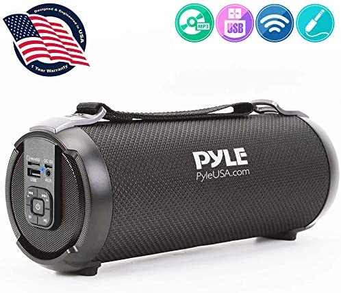 Wireless Portable Bluetooth Boombox Speaker – 100 Watt Rechargeable Boom Box Speaker Portable Music Barrel Loud Stereo System with AUX Input, MP3 USB SD Port, Fm Radio, 2.5 Tweeter – Pyle PBMSPG3BK