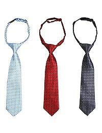 kilofly Pre-tied Adjustable Neck Strap Tie Boys Baby Necktie Value Set of 3
