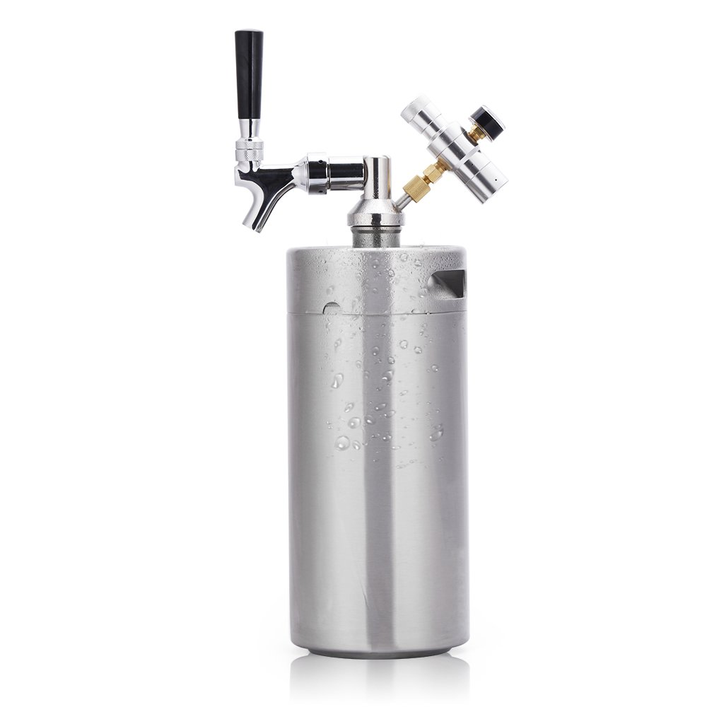 Lamtor G005-2L 64 Ounce Mini Keg Pressurized Growler for Craft Dispenser System CO2 Adjustable Draft Beer Faucet with Perfect Pour Regulator, 2L, Silver