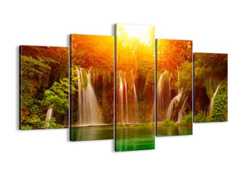 Waterfalls colorful multi panel home wall art decor - multipanel wall art