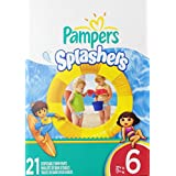 Pampers Splashers, Disposable Swim Pants, Size 6 Diapers, 21 Count (Pack of 6)