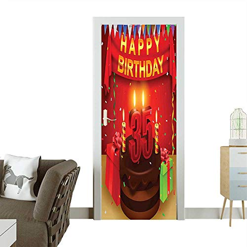 (Homesonne Decorative Door Decal Festive Event Confetti Rain Triangle Flags Presents Choco Cake Stick The Picture on The doorW38.5 x H77 INCH)