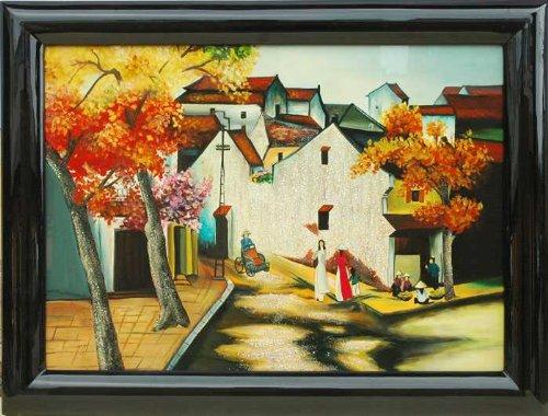 "Vietnamese Lacquer Paintings - 24"" x 32"" Ancient Street - LP00602"