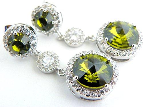 (Bridal or Bridesmaid Green Wedding Earrings Jewelry Swarovski Crystal Long Dangle Post Earings - Choose from Olivine or Emerald)