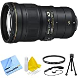 Beach Camera Nikon AF-S NIKKOR 300mm f/4E PF ED VR Lens and Filter Bundle - Includes Lens, 77mm UV Protective Filter, Lens Cap Keeper, 5 Flexible Mini Table-top Tripod, and 3pc. Lens Cleaning Kit