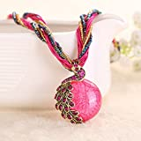 Ularmo Women's Bohemian Rhinestone Peacock Shape Pendant Statement Necklace (Pink)