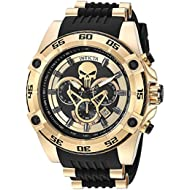 Men's 'Marvel' Quartz Stainless Steel and Silicone Watch, Color:Black (Model: 26860)