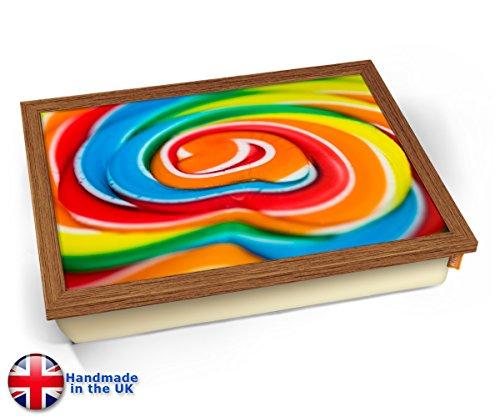 KICO Lolly Pop Lollipop Sweets Candy Rainbow Cushion Lap Tray - Wood Effect Frame