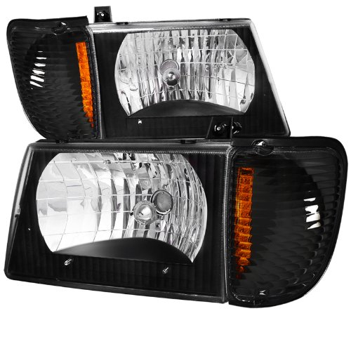 FORD 92-06 BLACK ECONOLINE VAN LED HEADLIGHT w/CORNER LAMPS E250 E350 ()