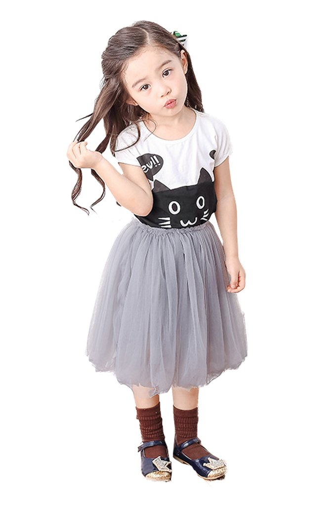 Lovely Item Girl's A Line Layered Princess Tulle Tutu Skirt HT 43 Inch Gray