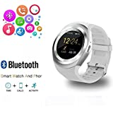 RabbyRock Y1 Bluetooth SmartWatch - HD IPS Round Touch Screen Cell Phone Watch with SIM TF Card Slot SmartWatch Pedometer Sleep Monitor Remote for Android Phones (White)